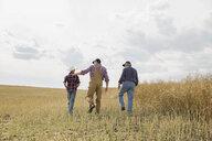 Multi-generation family walking in sunny wheat field - HEROF04769