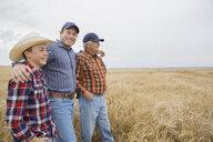 Multi-generation men in wheat field - HEROF04787
