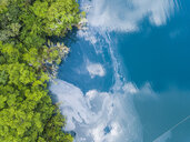 Mexiko, Yucatan, Quintana Roo, lagoon of Bacalar, green trees and lake, drone image - MMAF00772