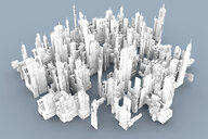 Grey skyscrapers forming an uniform city, 3D Rendering - SPCF00328