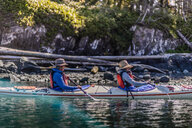 Couple on kayaking trip, Johnstone Strait, Telegraph Cove, Canada - CUF46951