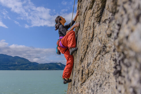 Woman rock climbing, Squamish, Canada - CUF47029