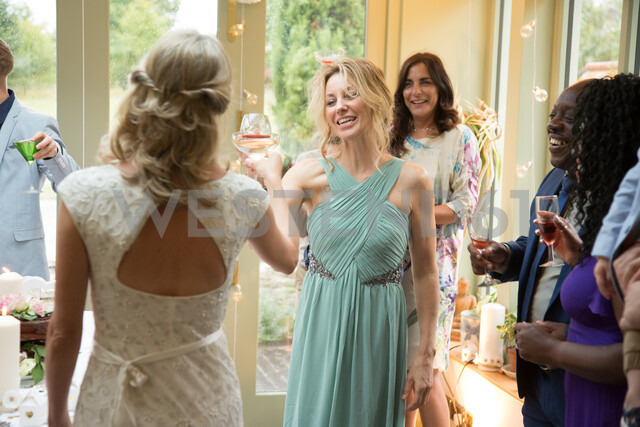 Wedding guests toasting to newlyweds at reception - CUF47482 - Jim Forrest/Westend61