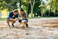 Couple with pet dog in park - CUF47602