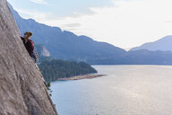 Rock climber on Malamute, Squamish, Canada - CUF47662