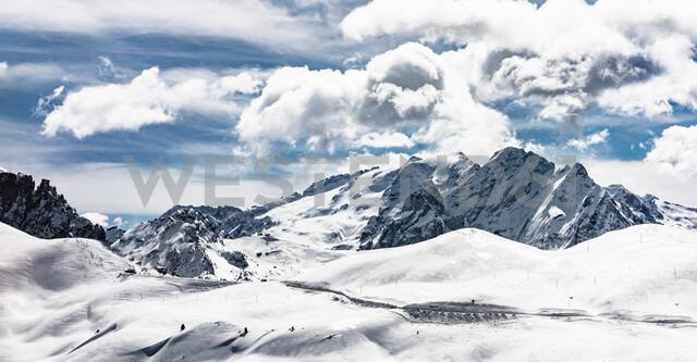 Snow covered Dolomites, Wolkenstein, Trentino-Alto Adige (Sudtirol), Italy - CUF47704
