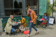 Street scene by pavement cafe, London, UK - CUF47758