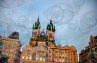 Bubbles and church of Our Lady before Týn, Old Town Square, Prague, Hlavni mesto Praha, Czech Republic - CUF47791