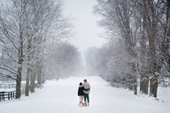 Romantic young couple walking dog in snow covered forest, rear view, Ontario, Canada - CUF47821