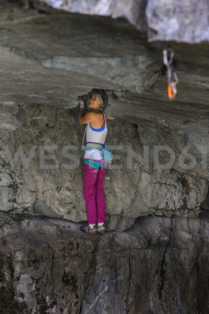Trad climbing roof of My Little Pony route in Squamish, Canada - CUF47857