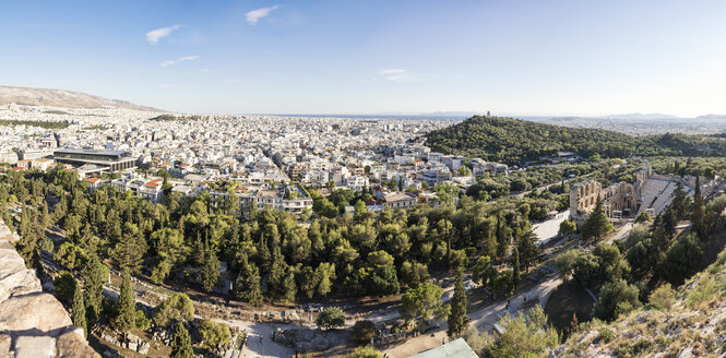 Greece, Athens, panorama, view on Odeon, theater of Herodes Atticus, Philopappos Monument - MAMF00333