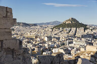 Greece, Athens, view from Acropolis towards Mount Lycabettus - MAMF00339