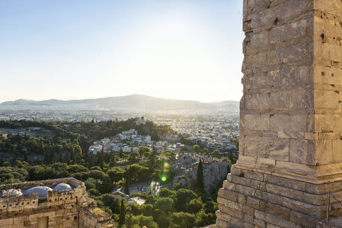 Greece, Athens, Acropolis, view from Propylaea to observatory and Areopagus - MAMF00342