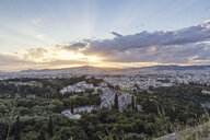 Greece, Athens, cityscape from Acropolis with observatory and Areopagus at sunset - MAMF00354