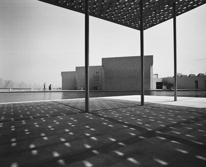 Bahrain, Manama, National Museum, Modern Architecture, black and white - JUB00325
