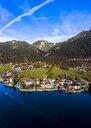 Luftaufnahme, Deutschland, Bayern, Oberbayern, Walchensee, Kochel am See am Abend - AMF06701