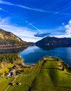 Luftaufnahme, Deutschland, Bayern, Oberbayern, Walchensee, Kochel am See am Abend - AMF06707
