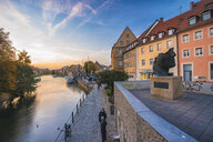 Germany, Bavaria, Bamberg, old town, Regnitz river at twilight - TAM01147