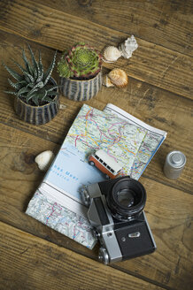 Travel accessories on wooden background - AS06272