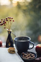 Cup of steaming tea, book, cookies and autumnal decoration on window sill - JESF00208