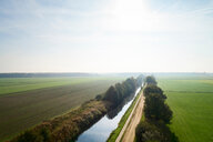 Canal cutting through field landscape, elevated view, Netherlands - CUF47922