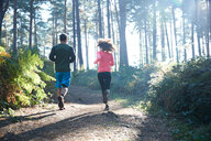 Female and male runners running in sunlit forest, rear view - CUF47988