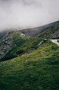 Winding road in alps, Brand, Vorarlberg, Austria - CUF48203