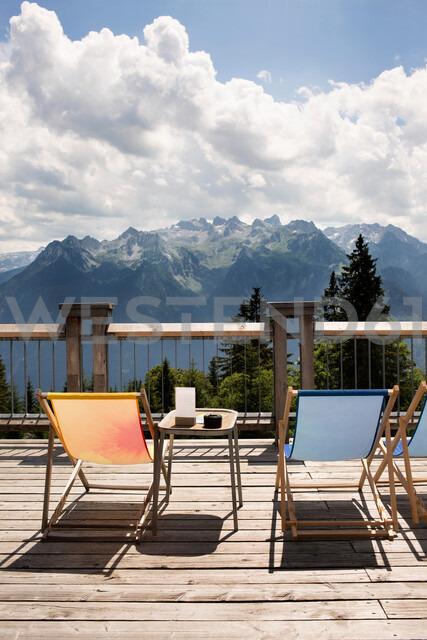 Viewing platform with deckchairs, Bludenz, Vorarlberg, Austria - CUF48251