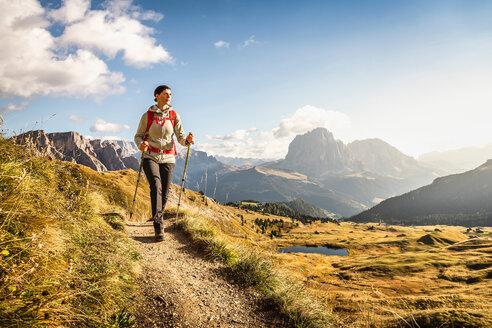 Hiking in Puez-Geisler, around Geislergruppe, Dolomites, Trentino-Alto Adige, Italy - CUF48284