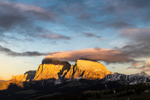Schlern-Rosengarten on Seiser Alm, Dolomites, Siusi, Trentino-Alto Adige, Italy - CUF48299