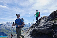 Hiker friends in Mont Cervin, Matterhorn, Valais, Switzerland - CUF48380