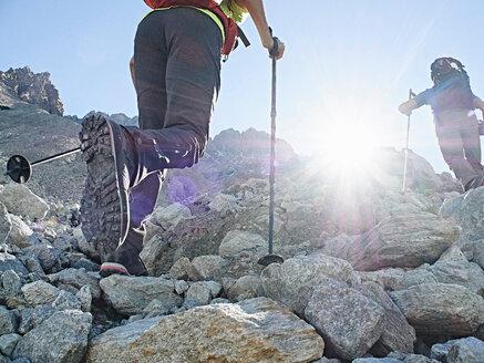 Hiker friends in Mont Cervin, Matterhorn, Valais, Switzerland - CUF48392