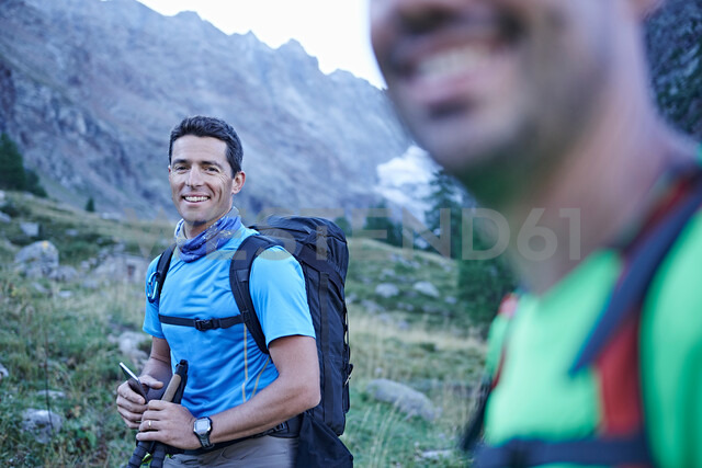 Smiling hiker friends, Mont Cervin, Matterhorn, Valais, Switzerland - CUF48422