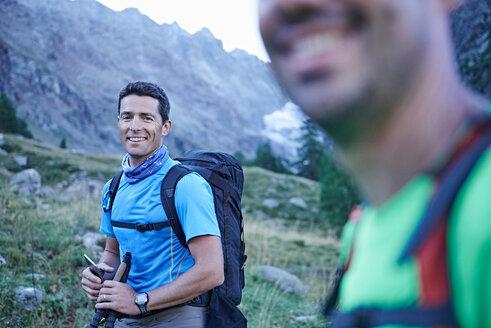 Smiling hiker friends, Mont Cervin, Matterhorn, Valais, Switzerland - CUF48422