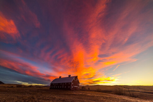 Landscape with rural farm and vibrant sunset, Larkspur, Colorado, USA - ISF20305