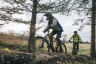 Low angle view of friends mountain biking in forest - MASF11044