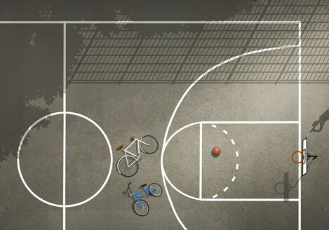 View from above bicycles and basketball on basketball court - FSIF03710