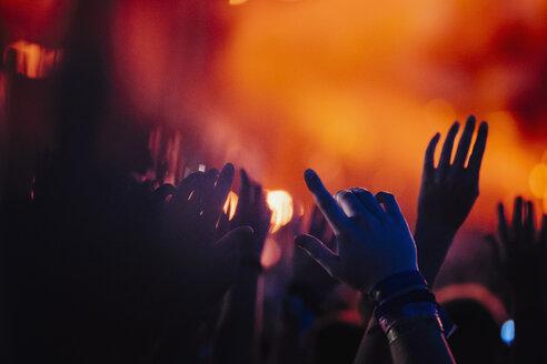 Hands raised, cheering in concert audience - FSIF03761