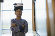 Portrait confident boy wearing virtual reality simulator glasses - HEROF05877