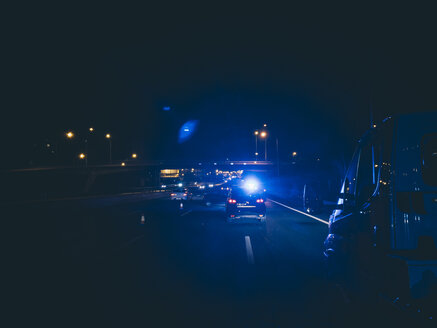 Police vehicles in highway intervention. Madrid Spain - OCMF00220