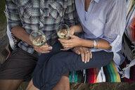 Retired couple drinking white wine - HEROF05960