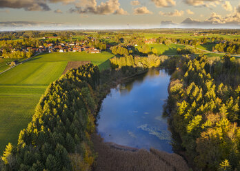 Germany, Bavaria, Thanning, Thanninger Weiher near Egling, drone view - SIEF08353