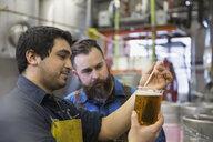 Brewery workers examining beer in beaker - HEROF06880