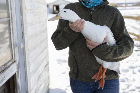 Female farmer holding duck - HEROF07396