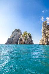 Italy, Campania, Gulf of Naples, Capri Island, famous faraglioni rocks - FLMF00089
