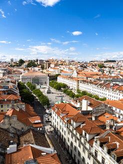 Portugal, Lissabon, Überblick über die Stadt mit Rossio Platz und Denkmal Dom Pedro IV - AMF06720