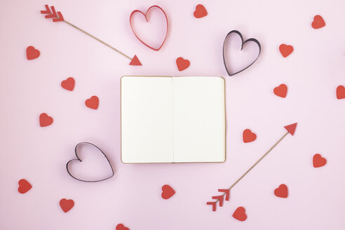 Pink background with Valentines symbols and copy space - MOMF00589
