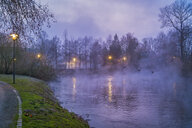 Germany, Grevenbroich, Erft river and fog in the evening - FRF00812