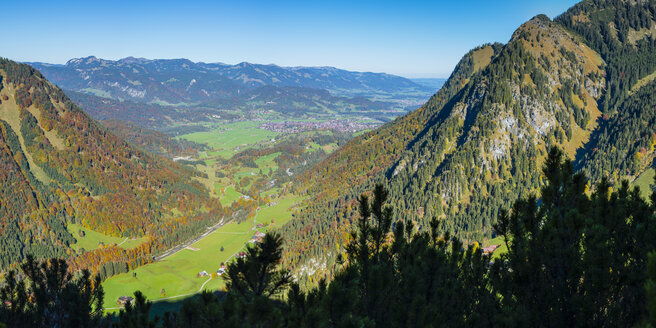 Panorama vom Kegelkopf, 1959m, nach Oberstdorf, Allgaeu, Bayern, Deutschland, Europa - WGF01290
