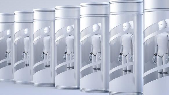 Roboter in Behälter,3D Rendering, digital generiert, Roboter, Maschine, menschenähnlich, künstliche Intelligenz, Technologie, Technik, Kommunikation, nebeneinander, Reihe, Konzept, Smybol, Zeichen, starr, aufgereiht, eingesperrt, Vision, Zukunft, Digitalisierung, Horizontal, gleich, gefangen, stoisch, ausdruckslos, emotionslos - AHUF00549